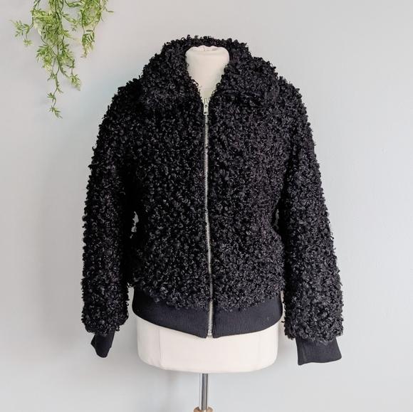 (Forever 21) NWT Black Teddy Furry Zip Jacket